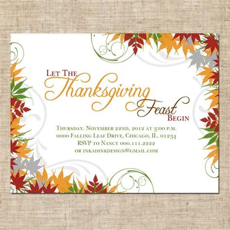 Items Similar To Printable Thanksgiving Invitation Personalized Digital Design Customize Thanksgiving Potluck Invitation Template Free Printable