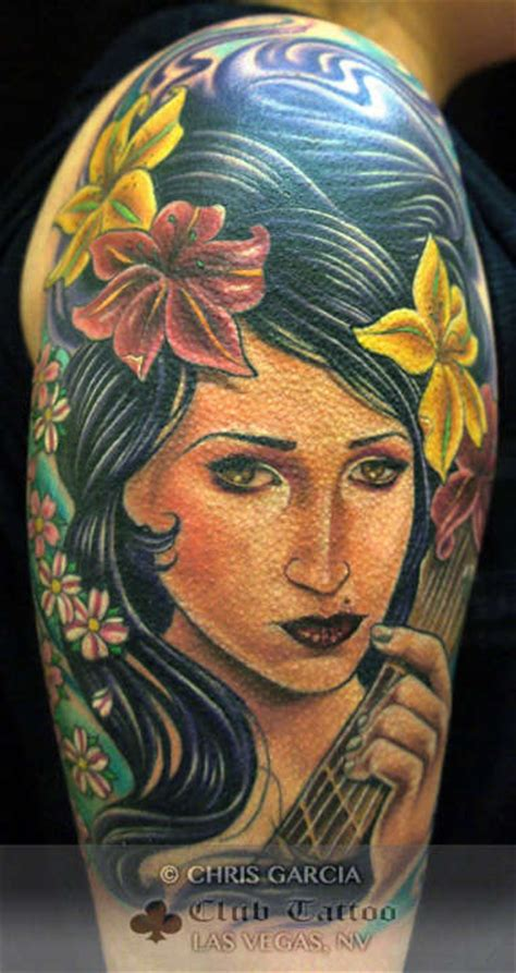 chris garcia tattoo chrisgarcia portrait flowers