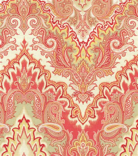 home decor print fabric waverly paisley verse crimson