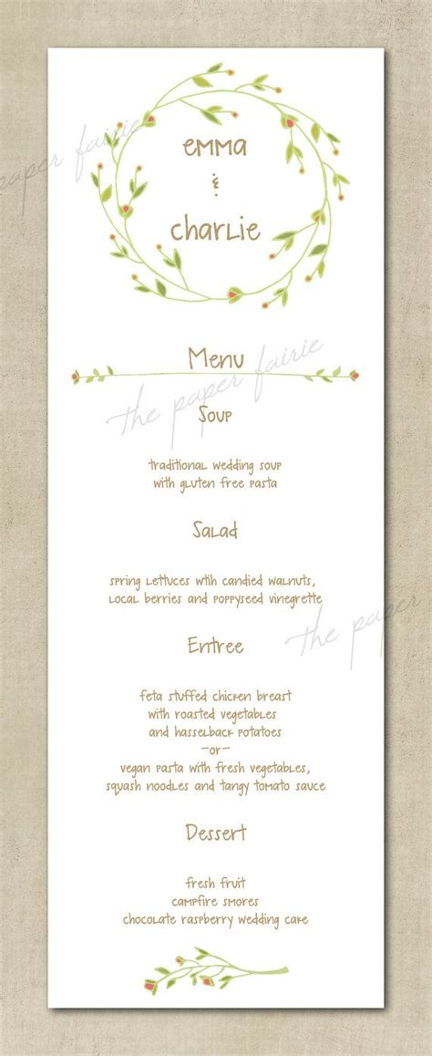 wedding menu vintage floral simple boho shabby chic printable