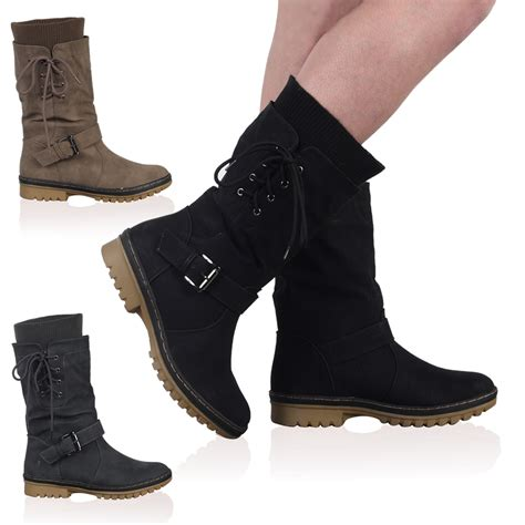 new faux leather womens casual snow grip calf high