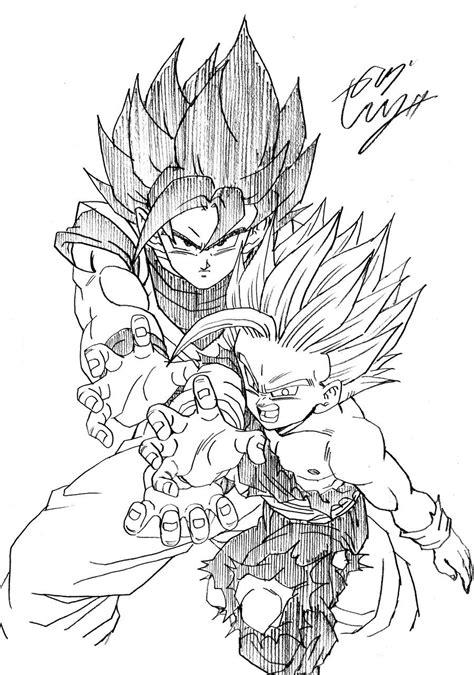 Goku & Gohan   dbz art   Dibujos de dragón, Dibujos de