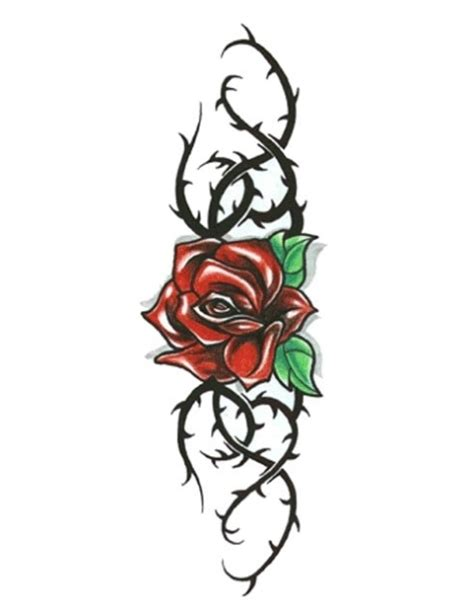 rose thorn tattoo with black thorny vines jpg 480 215 622