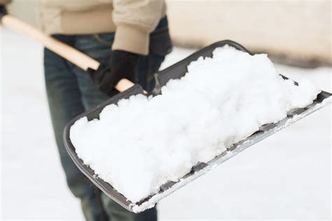closeup  man shoveling snow  driveway