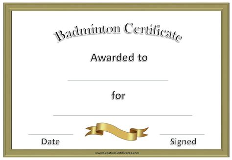 free badminton certificate template customize online