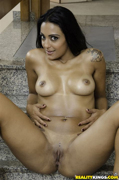 sexy brazilian babe Perla Bonbom Gets Naked And Spreads Shaved Pussy