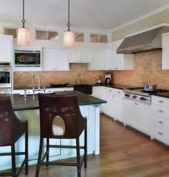 pictures of kitchen backsplashes with white cabinets kitchen brick backsplashes for warm and inviting cooking