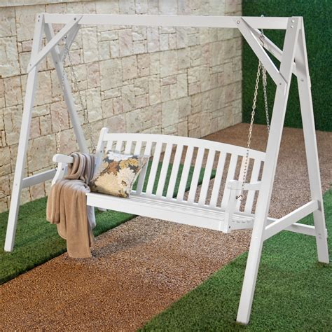 porch swing with stand wood porch swing stand white at hayneedle