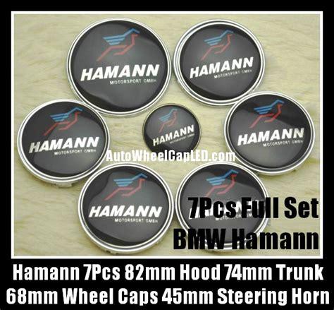 Emblem Stir Bmw Hamann 45mm bmw hamann 7pcs emblems 82mm 74mm trunk 68mm wheel center caps 45mm steering horn