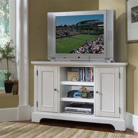 Living Room White Tv Stand 50 Quot Corner Entertainment Credenza In White 5530 07