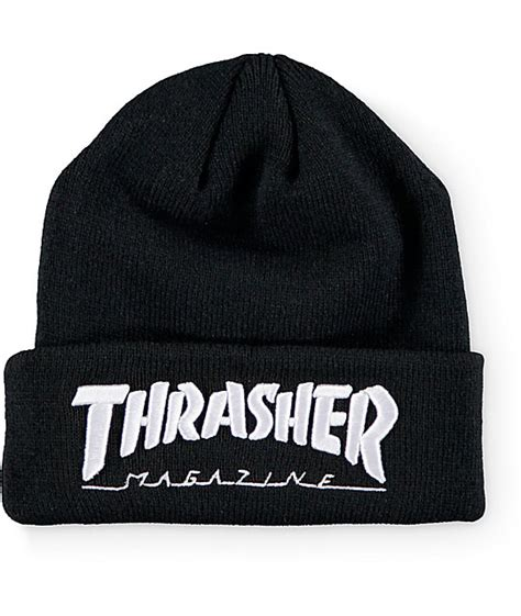 Embroidered Beanie thrasher embroidered logo black beanie at zumiez pdp