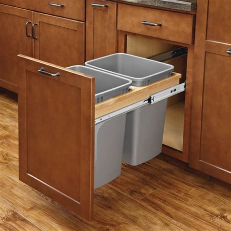 double trash bin cabinet rev a shelf double trash pullout 35 quart w soft close