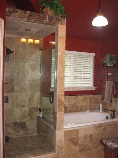 Frameless Kitchen Cabinet Plans by Walk In Shower With Frameless Shower Door And Travertine Tile