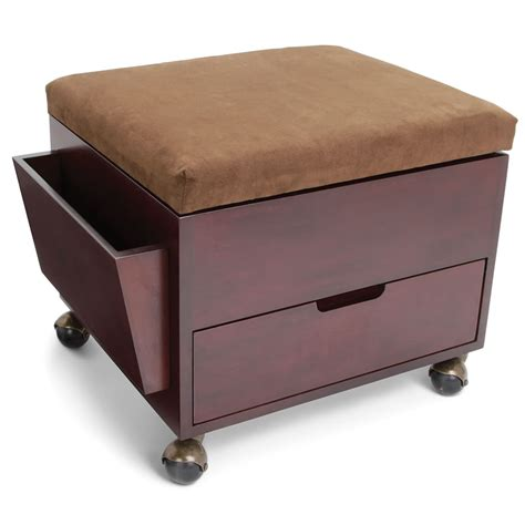 Rolling Foot Stool rolling storage ottoman the rolling storage ottoman hammacher schlemmer the rolling storage