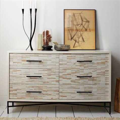 Tiled Dresser wood tiled 6 drawer dresser west elm
