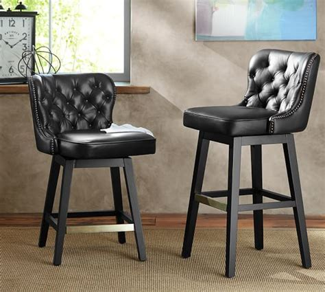 caldwell tufted leather swivel barstool pottery barn