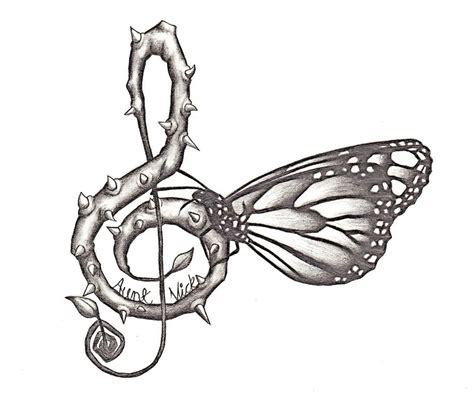 butterfly music note tattoo designs drawings notes butterfly with notes