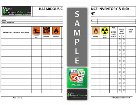 Health Safety Forms Construction Templates Hazardous Chemical Risk Assessment Template
