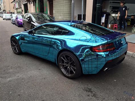 chrome aston martin aston martin vantage gets wireframe ice blue chrome wrap