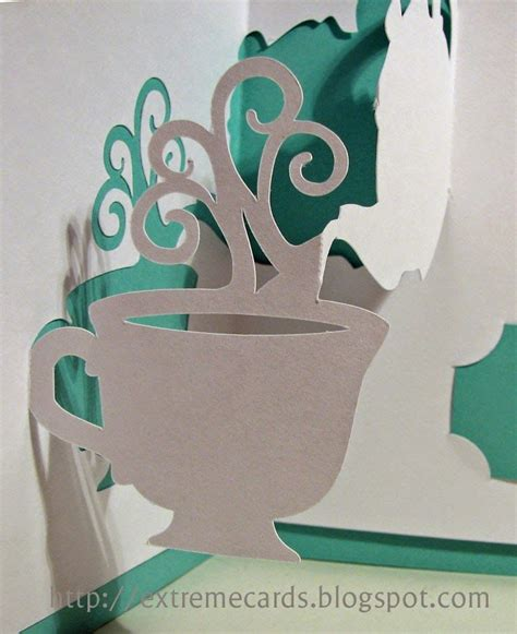 Pop Up Coffee Cup Card Cutout Template by Up View Tea Cup Pop Up Svg Cuts 3d