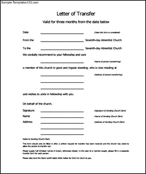 sle transfer letter of church membership sle templates