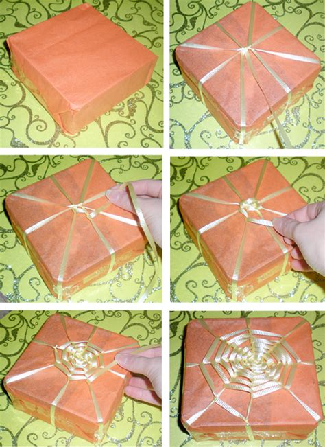 step by step gift wrapping comic chic diy spiderweb gift wrap