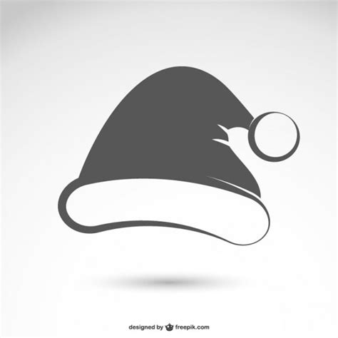 black and white santa claus hat vector free download
