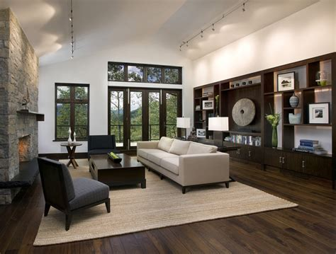 living room with dark wood floors mountain home living room contemporary living room