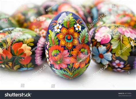 ukrainian handmade painted easter eggs on stock photo