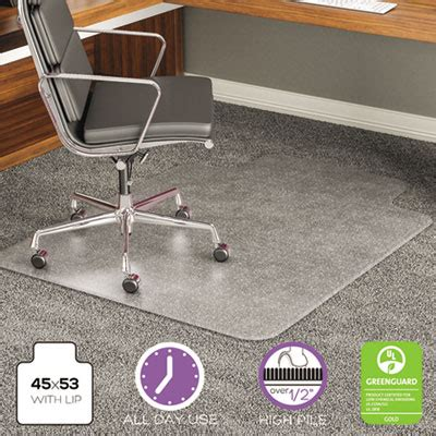 45x53 clear chair mat execumat all day use chair mat for high pile