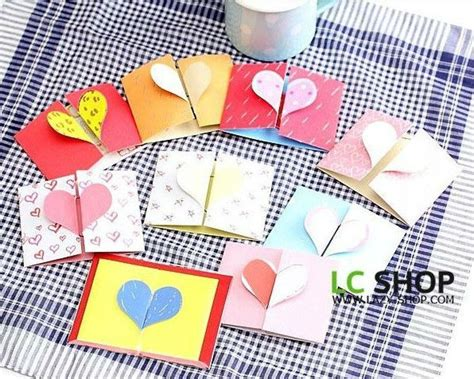 3d heart valentine day greeting card envelope set gift cards korean stationery - Dropship Gift Cards