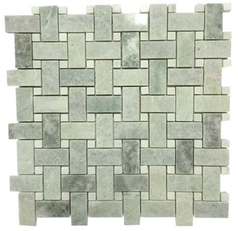 ming green marble 1x2 basketweave polished pattern mosaic tile