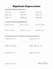algebraic expressions worksheet education com