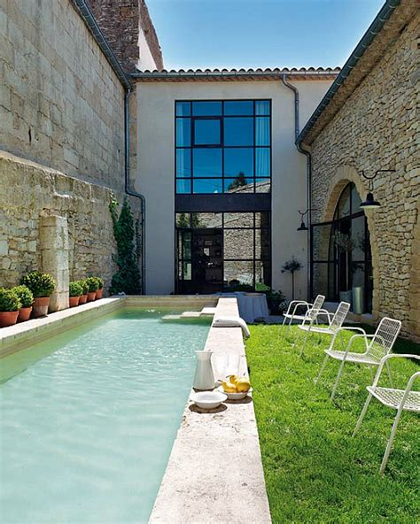 backyard lap pool old oil mill turned into family residence with backyard