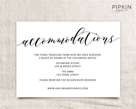 wedding guest information card template wedding accommodations template printable accommodations