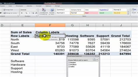 sorting pivot table field values in excel