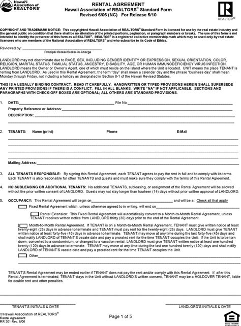Free Hawaii Residential Lease Agreement Form Pdf 122kb 5 Page S Nc Residential Rental Agreement Template