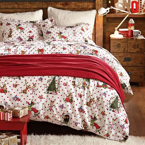 christmas bed sheets the grinch flannel duvet sham pbteen
