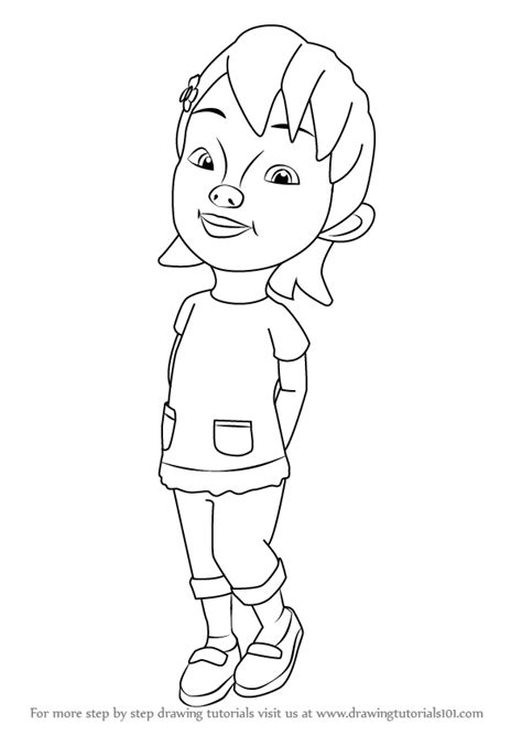 tutorial menggambar upin ipin learn how to draw susanti from upin ipin upin ipin