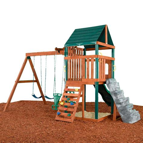 lowes wooden swing sets shop swing n slide brentwood residential wood playset with