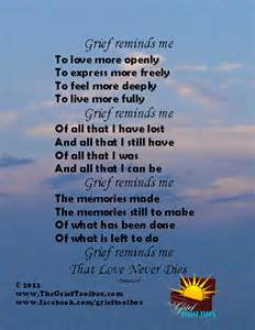 Love N Comfort Home Health Care Grief Reminds Me A Poem The Grief Toolbox