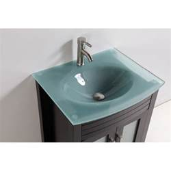 Bathroom Vanity With Top And Faucet Tempered Glass Top 24 Quot Single Sink Bathroom Vanity With