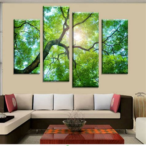 wall paintings for home decoration aliexpress com buy 4 panels green tree painting canvas