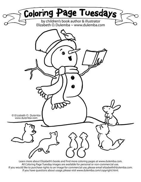Coloring Page Tuesdays by Dulemba Coloring Page Tuesdays Storytelling Snowman