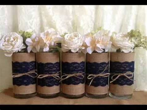 Rustic wedding mason jar vases candles burlap and lace centerpieces   YouTube