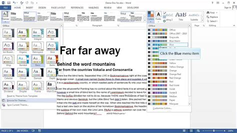 microsoft themes celestial ms word 2013 how to apply theme in word document demo
