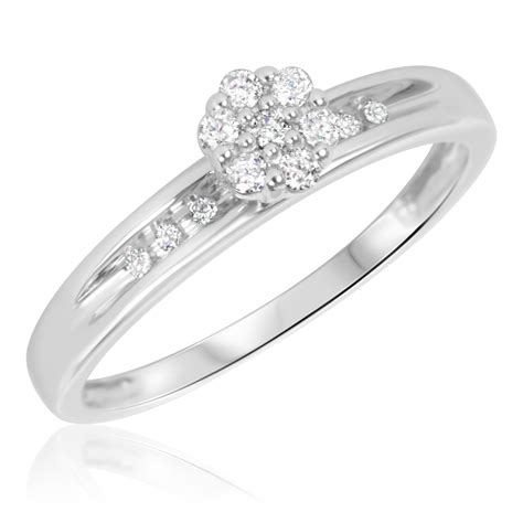 1 6 carat t w engagement ring 10k white