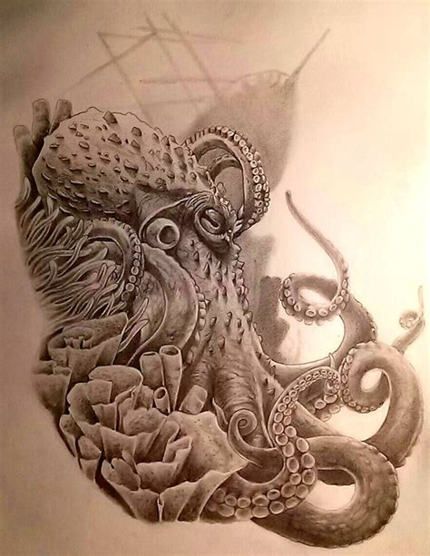 realistic octopus tattoo realistic grey ink octopus with flowers design
