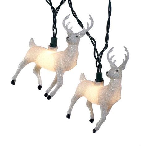 white glitter reindeer light set kurt s adler