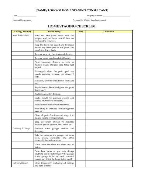 Home Staging Checklist Home Staging Checklist Doc Real Estate In 2019 Pinterest Home Interior Design Consultation Template